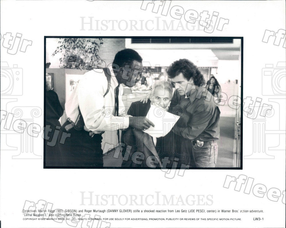 1992 Actors Mel Gibson, Danny Glover, Joe Pesci in Film Press Photo adx787 - Historic Images