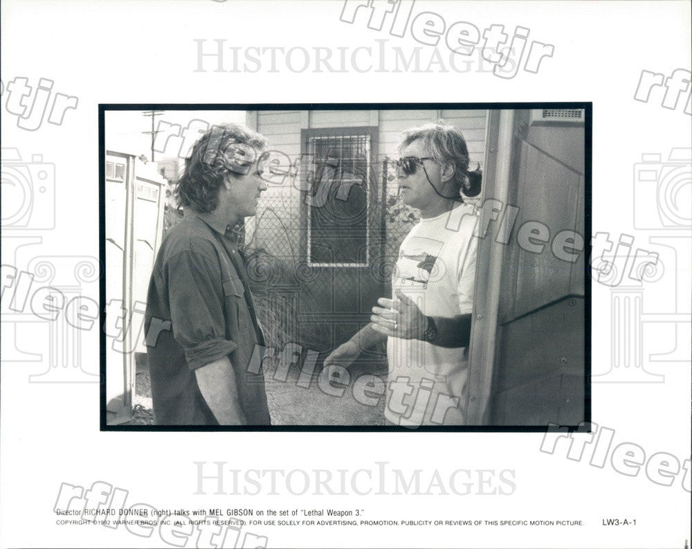 1992 Actor Mel Gibson, Dir Richard Donner Film Lethal Weapon Press Photo adx789 - Historic Images
