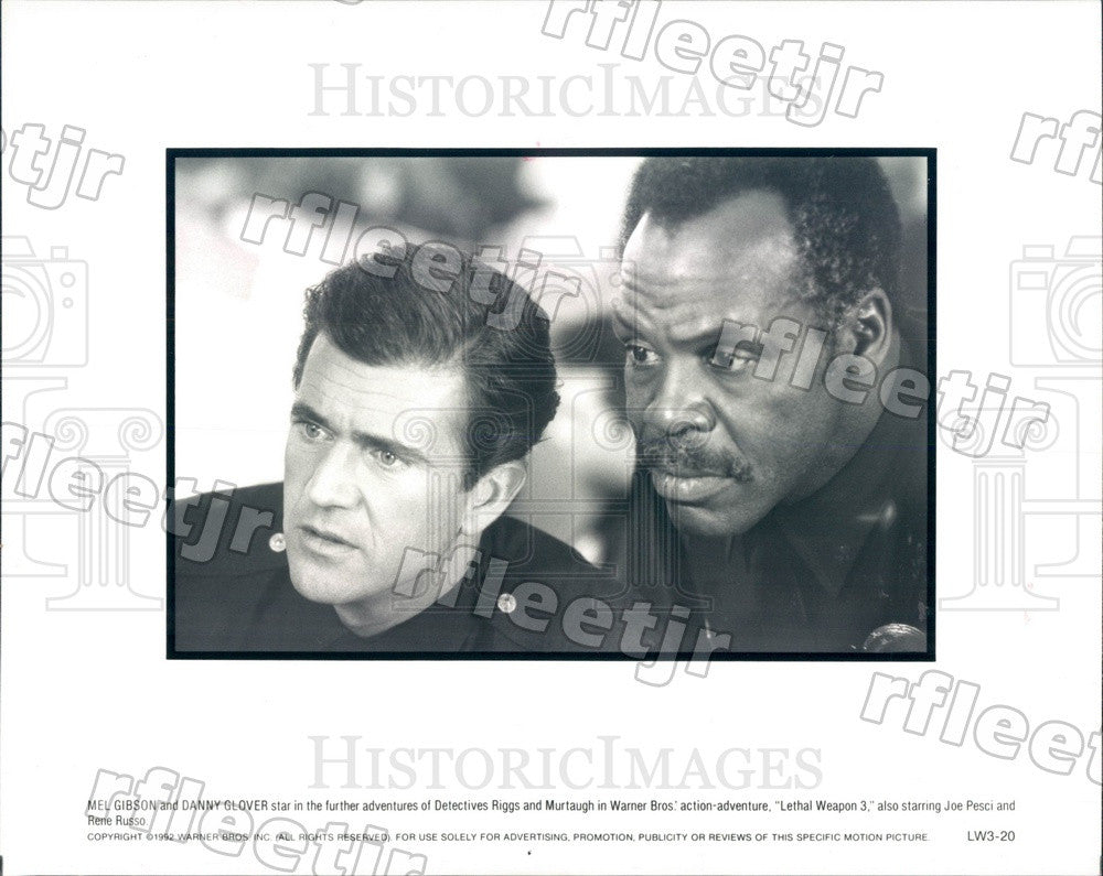1992 Actors Danny Glover & Mel Gibson in Film Lethal Weapon 3 Press Photo adx799 - Historic Images