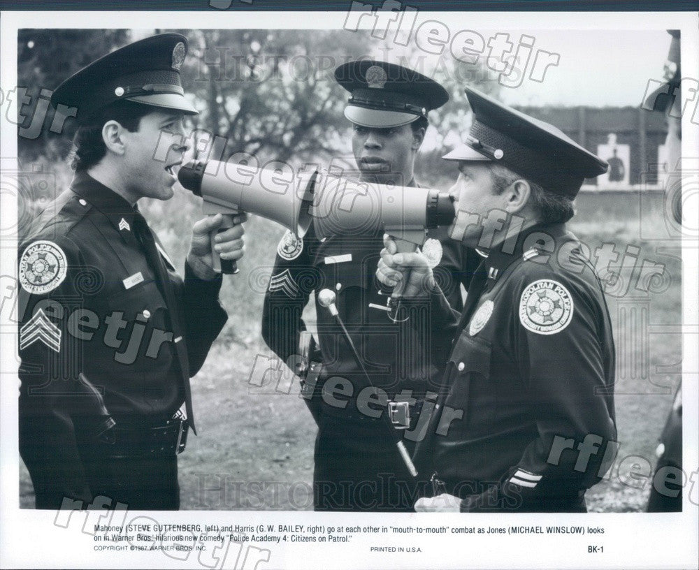 1987 Actors Steve Guttenberg, GW Bailey, Michael Winslow Press Photo adx839 - Historic Images