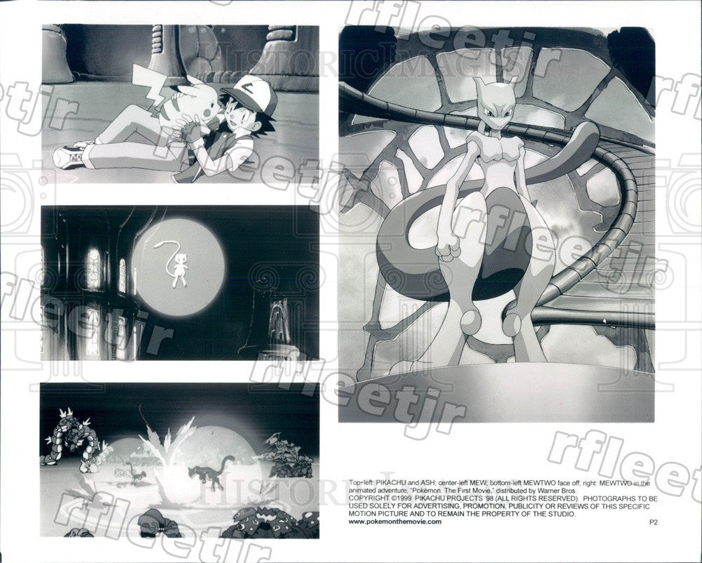 1999 Pokemon Characters Ash, Pikachu, Mewtwo in Film Pokemon Press Photo adx845 - Historic Images
