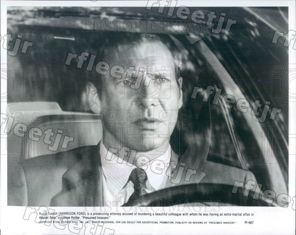 1990 Hollywood Actor Harrison Ford in Film Presumed Innocent Press Photo adx915 - Historic Images
