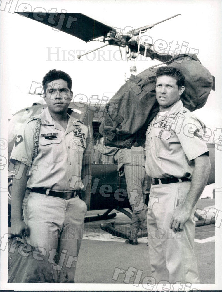 1990 Actors Ramon Franco, Tony Becker on TV Show Tour of Duty Press Photo adx997 - Historic Images