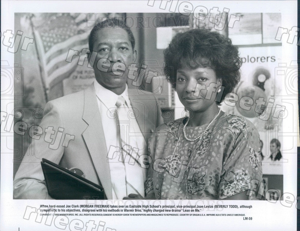 1989 Oscar Winning Actor Morgan Freeman & Beverly Todd Press Photo ady1 - Historic Images