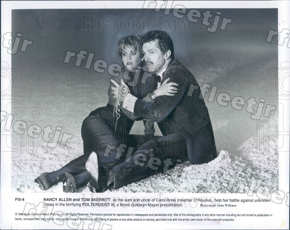 1988 Actors Nancy Allen, Tom Skerritt in Film Poltergeist III Press Photo ady101 - Historic Images