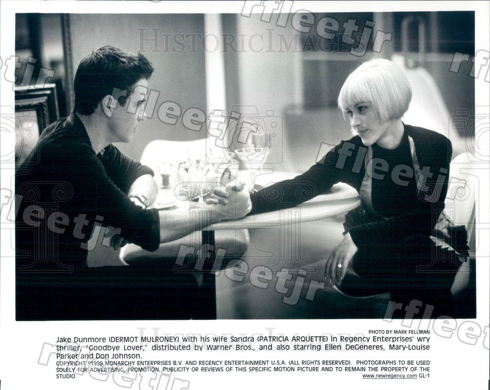 1999 Actors Dermot Mulroney & Emmy Winner Patricia Arquette Press Photo ady1051 - Historic Images