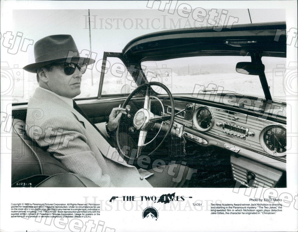 1989 Oscar Winning Actor Jack Nicholson in The Two Jakes Press Photo ady1057 - Historic Images