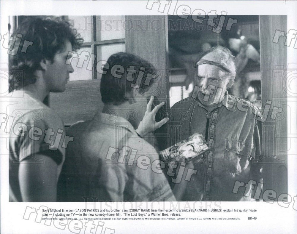 1987 Actors Jason Patric, Corey Haim, Barnard Hughes Press Photo ady1079 - Historic Images