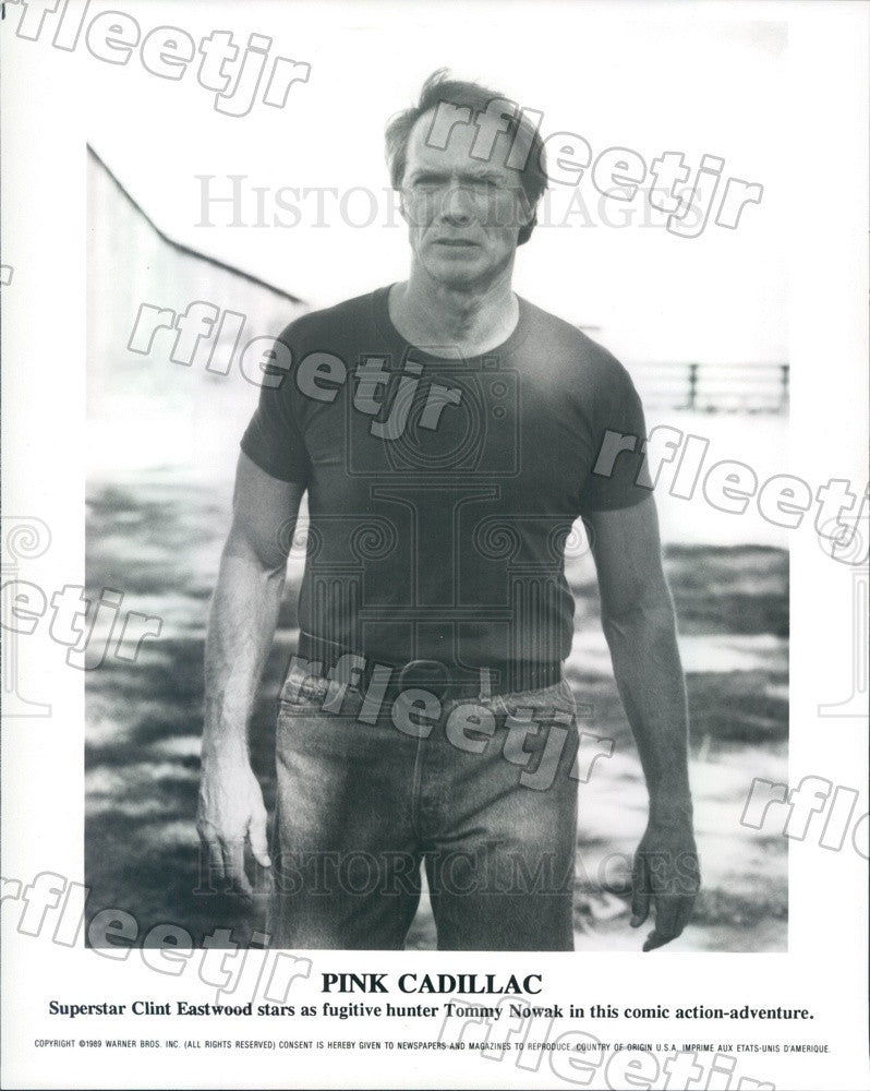 1989 Oscar Winning Actor Clint Eastwood in Pink Cadillac Press Photo ady1107 - Historic Images