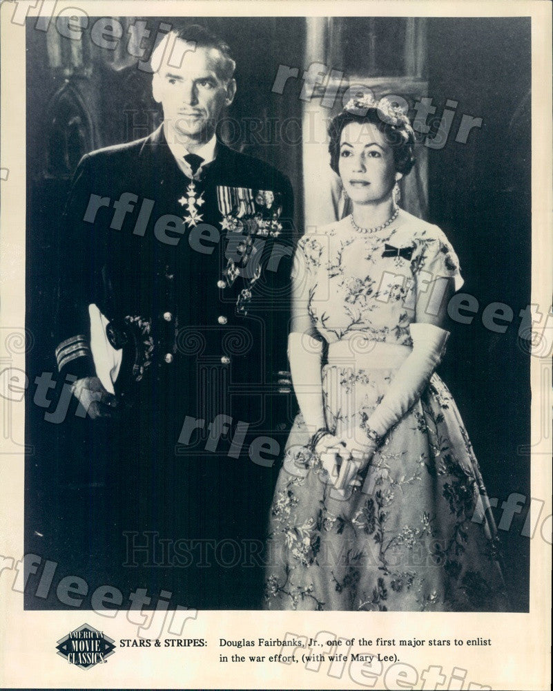 Undated American Actor Douglas Fairbanks Jr & Wife Mary Lee Press Photo ady1141 - Historic Images