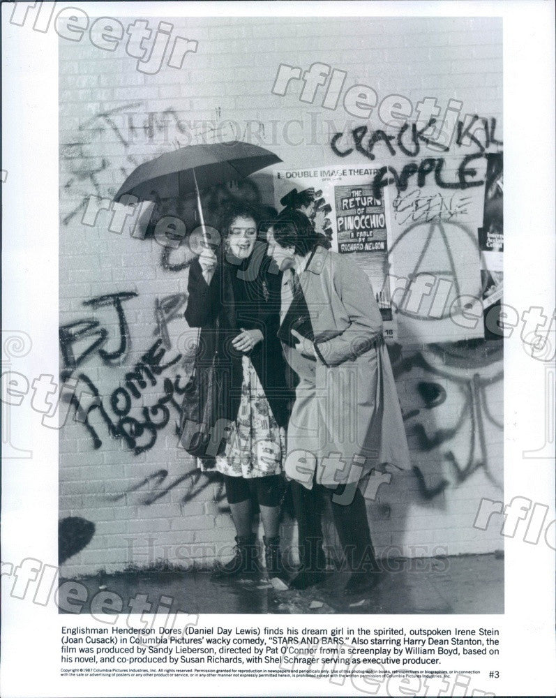 1987 Oscar Winning Actor Daniel Day-Lewis & Joan Cusack Press Photo ady1145 - Historic Images