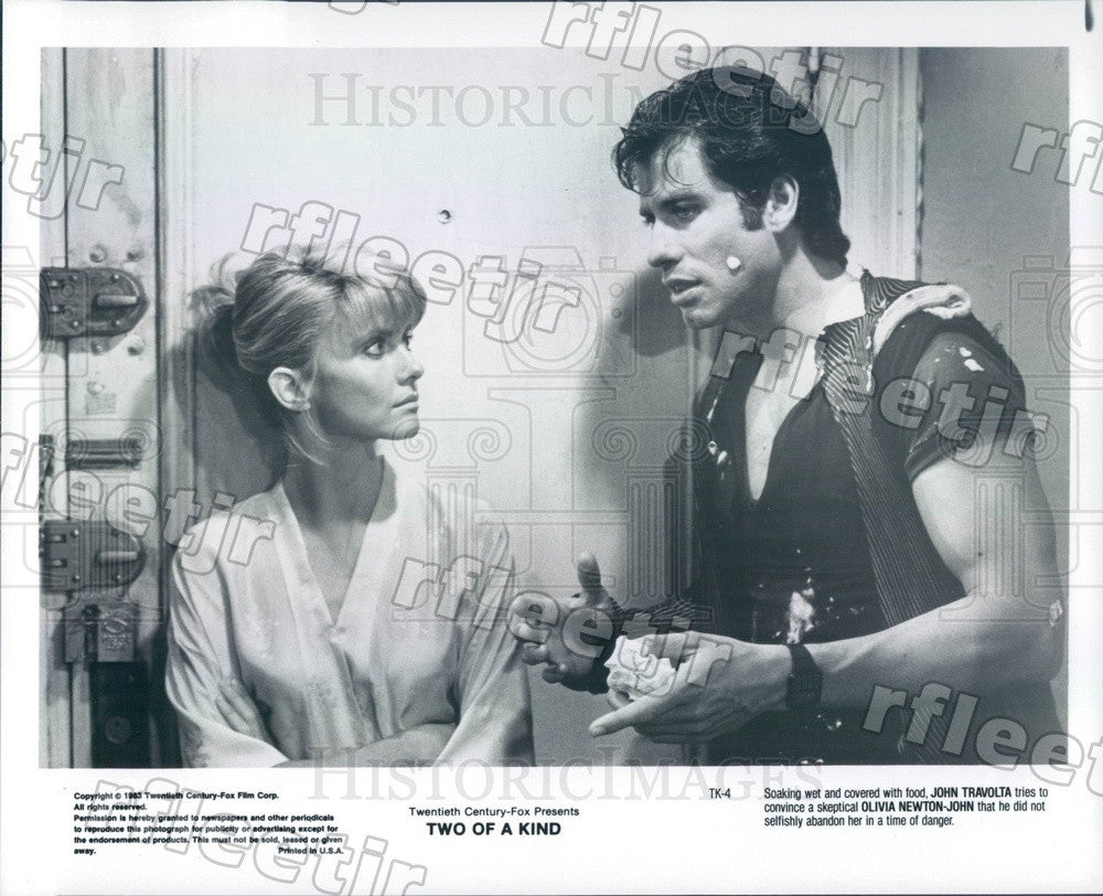 1983 Actors John Travolta & Grammy Winner Olivia Newton-John Press Photo ady1157 - Historic Images