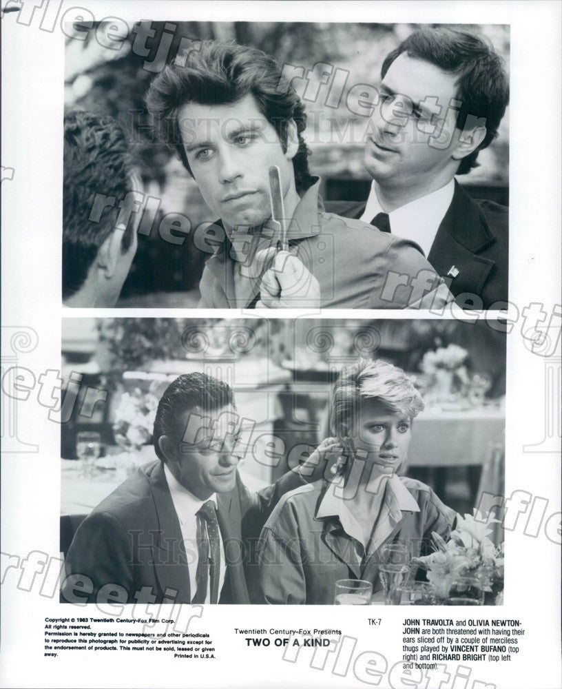 1983 Actor John Travolta, Olivia Newton-John, Vincent Bufano Press Photo ady1163 - Historic Images
