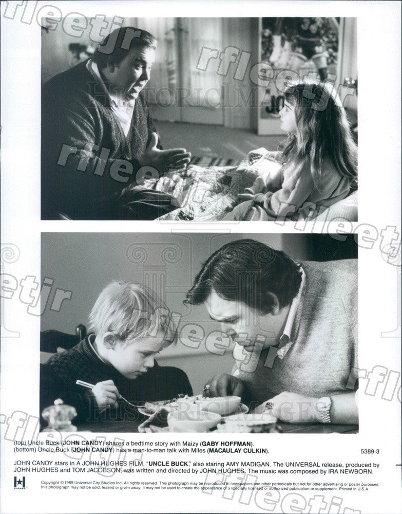 1989 Actors John Candy, Gaby Hoffmann, Macaulay Culkin Press Photo ady1197 - Historic Images