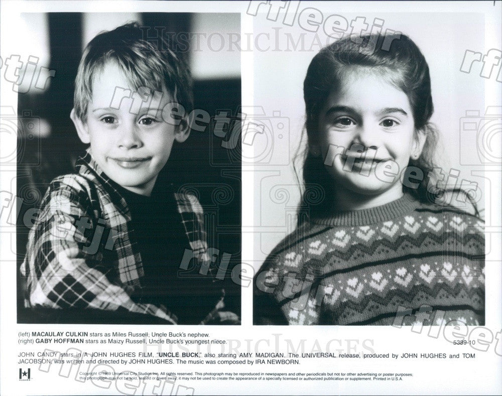 1989 Actors Gaby Hoffmann & Macaulay Culkin in Uncle Buck Press Photo ady1199 - Historic Images