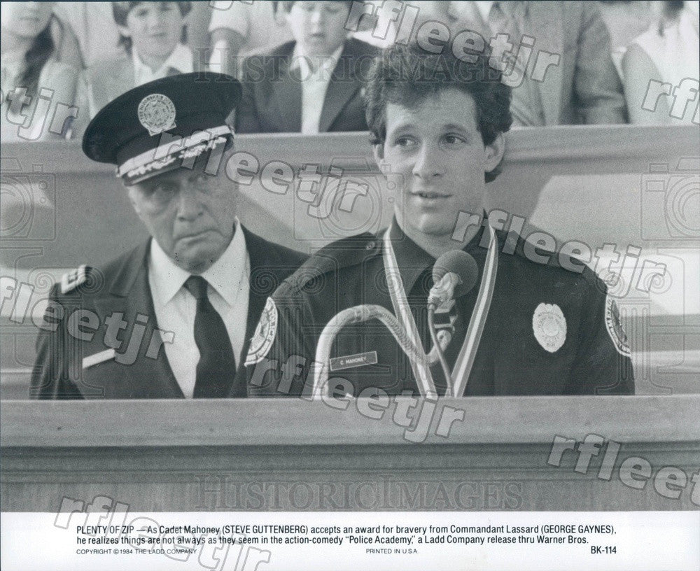 1984 Actors Steve Guttenberg, George Gaynes in Police Academy Press Photo ady125 - Historic Images