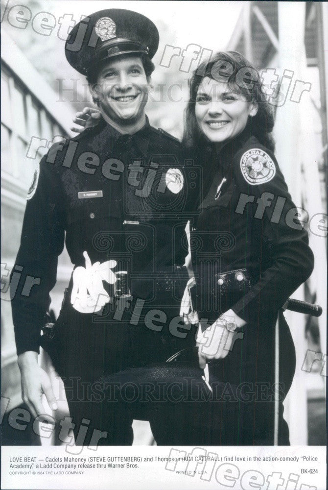 1984 Actors Steve Guttenberg & Kim Cattrall in Police Academy Press Photo ady127 - Historic Images