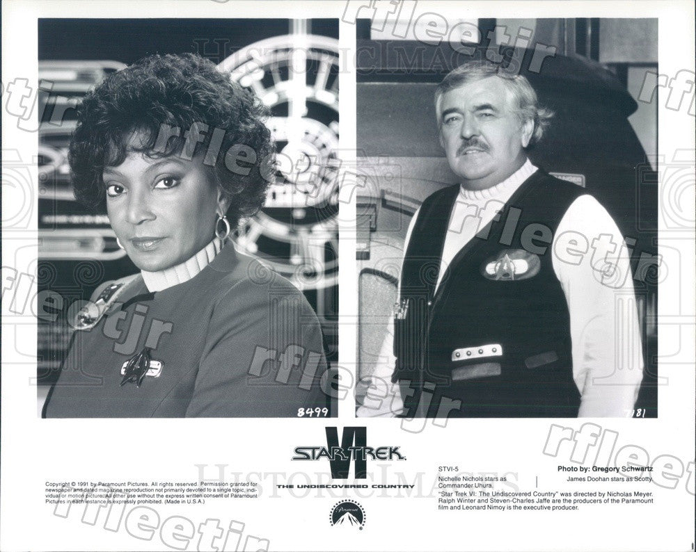 1991 Actors Nichelle Nichols & James Doohan in Star Trek VI Press Photo ady129 - Historic Images