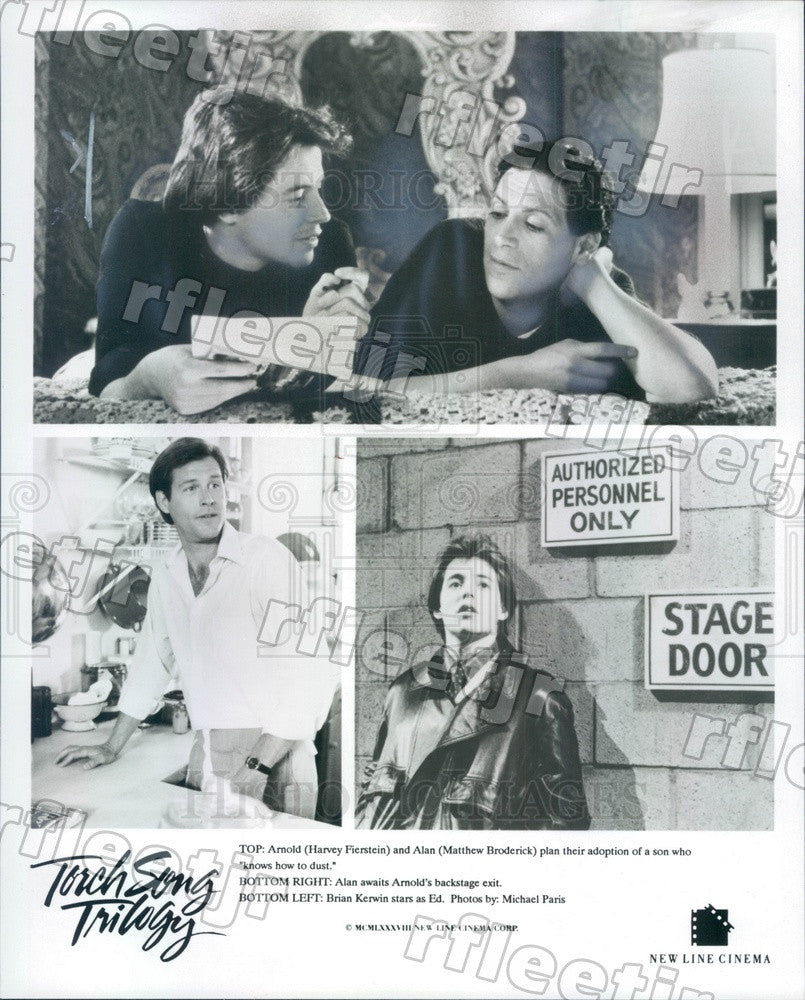 1988 Actors Harvey Fierstein, Matthew Broderick, Brian Kerwin Press Photo ady193 - Historic Images