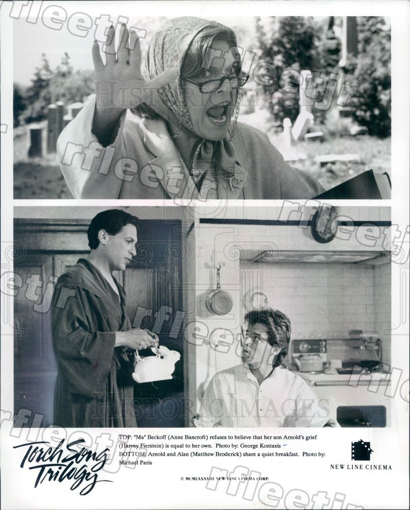 1988 Actor Anne Bancroft, Matthew Broderick, Harvey Fierstein Press Photo ady197 - Historic Images