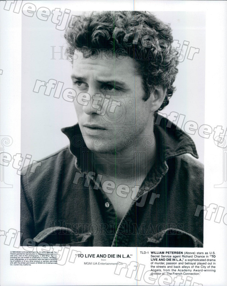 1985 Actor William Petersen in Film To Live And Die In LA Press Photo ady263 - Historic Images