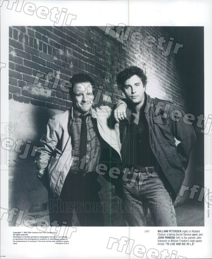 1985 Actors William Petersen & John Pankow in Film Press Photo ady269 - Historic Images