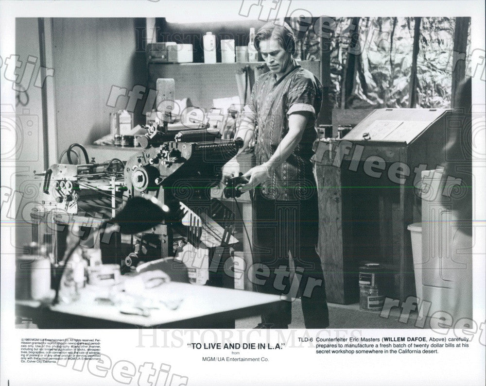 1985 Actor Willem Dafoe in Film To Live And Die In LA Press Photo ady273 - Historic Images