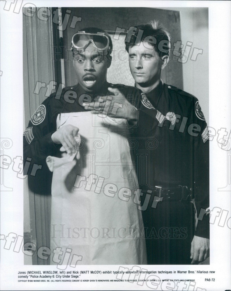 1989 Actors Michael Winslow, Matt McCoy in Film Police Academy Press Photo ady29 - Historic Images