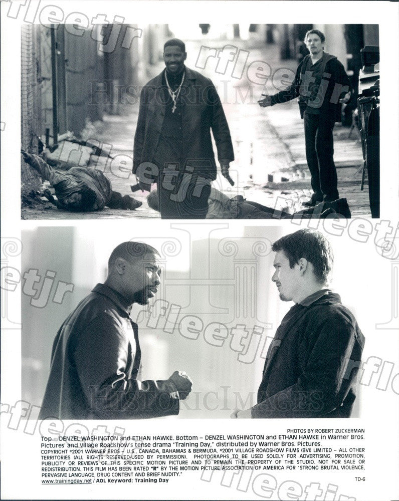 2001 Oscar Winning Actor Denzel Washington & Ethan Hawke Press Photo ady301 - Historic Images