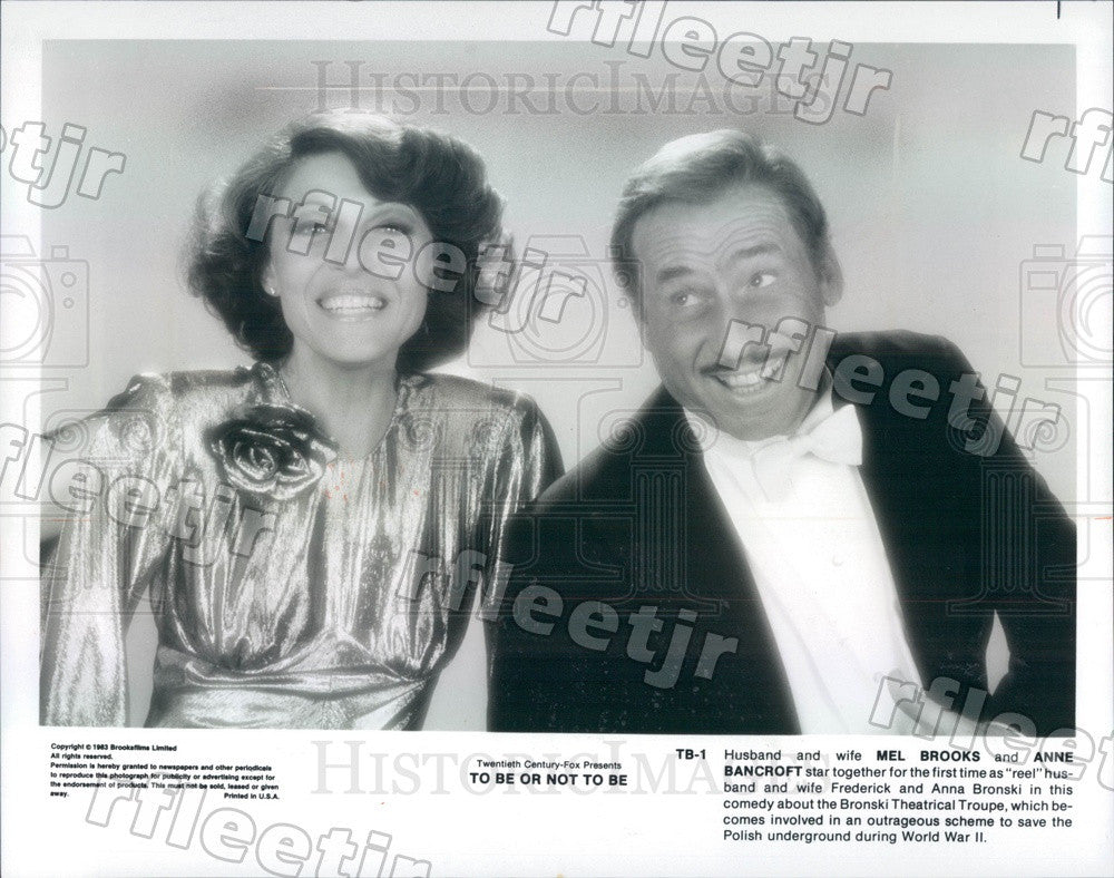 1983 Oscar Winning Actors Mel Brooks & Anne Bancroft in Film Press Photo ady321 - Historic Images