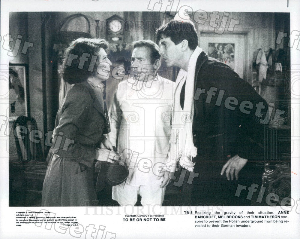 1983 Actors Mel Brooks, Anne Bancroft, Tim Matheson in Film Press Photo ady323 - Historic Images