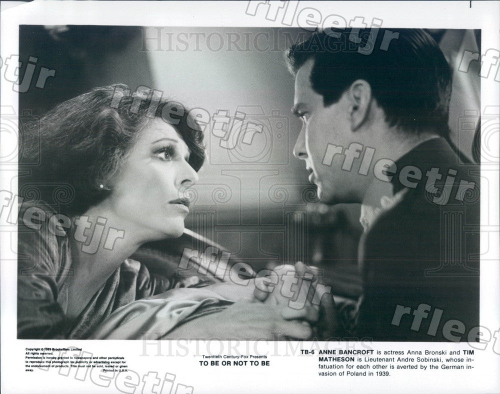 1983 Oscar Winning Actor Anne Bancroft & Tim Matheson in Film Press Photo ady325 - Historic Images