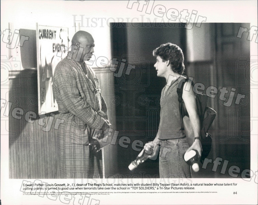 1991 Oscar Winning Actor Louis Gossett Jr, Sean Astin in Film Press Photo ady363 - Historic Images