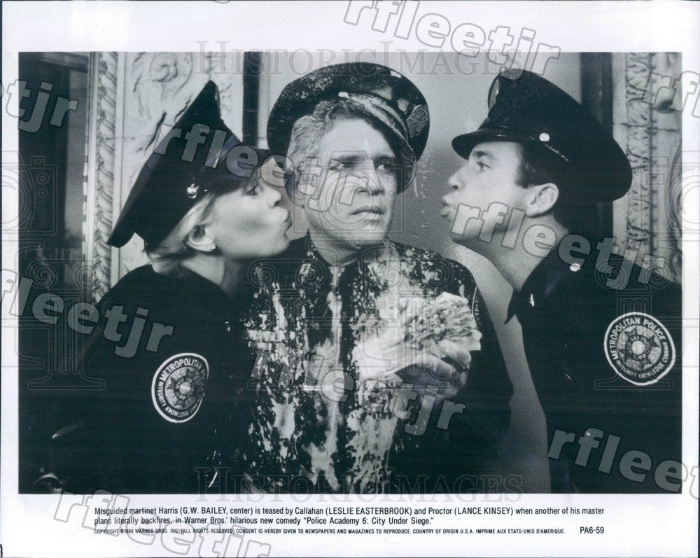 1989 Actors GW Bailey, Leslie Easterbrook, Lance Kinsey Press Photo ady37 - Historic Images