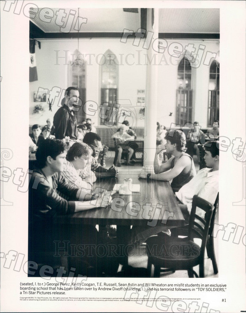 1991 Actor George Perez, Keith Coogan, TE Russell, Sean Astin Press Photo ady379 - Historic Images