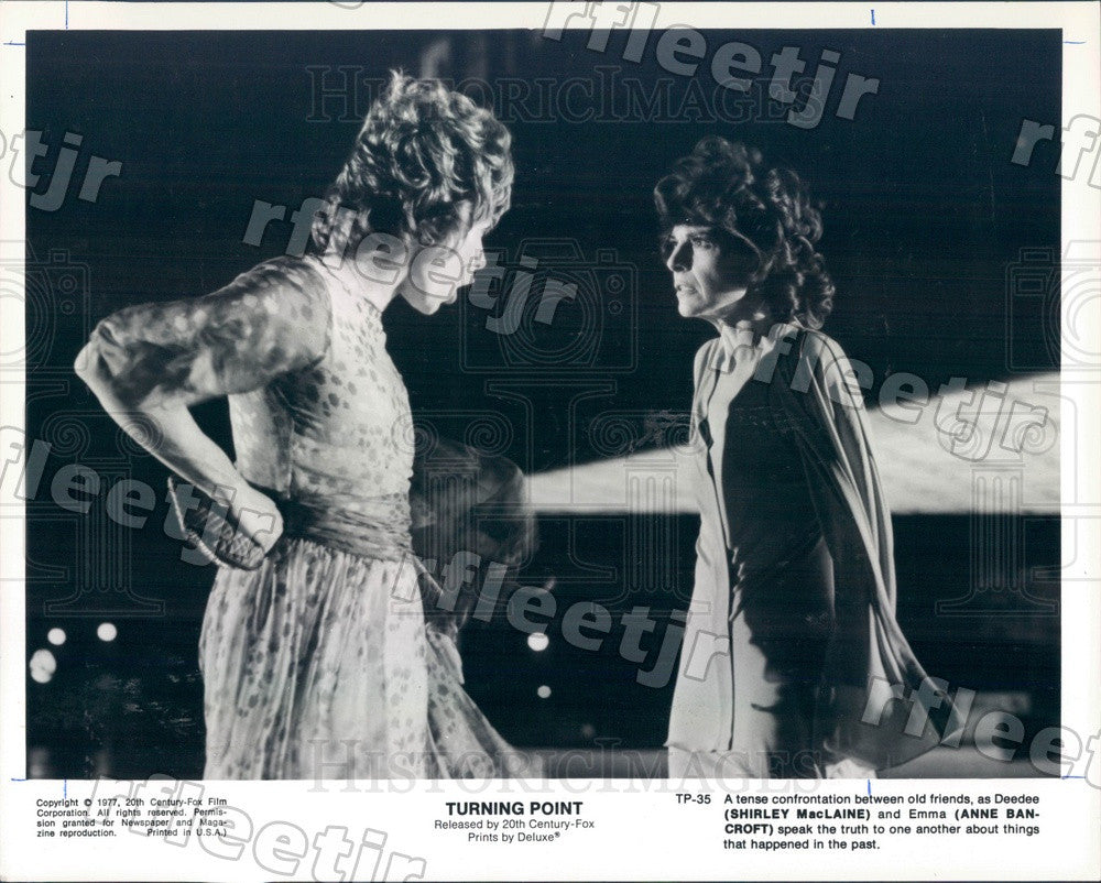 1977 Oscar Winning Actors Shirley Maclaine & Anne Bancroft Press Photo ady433 - Historic Images