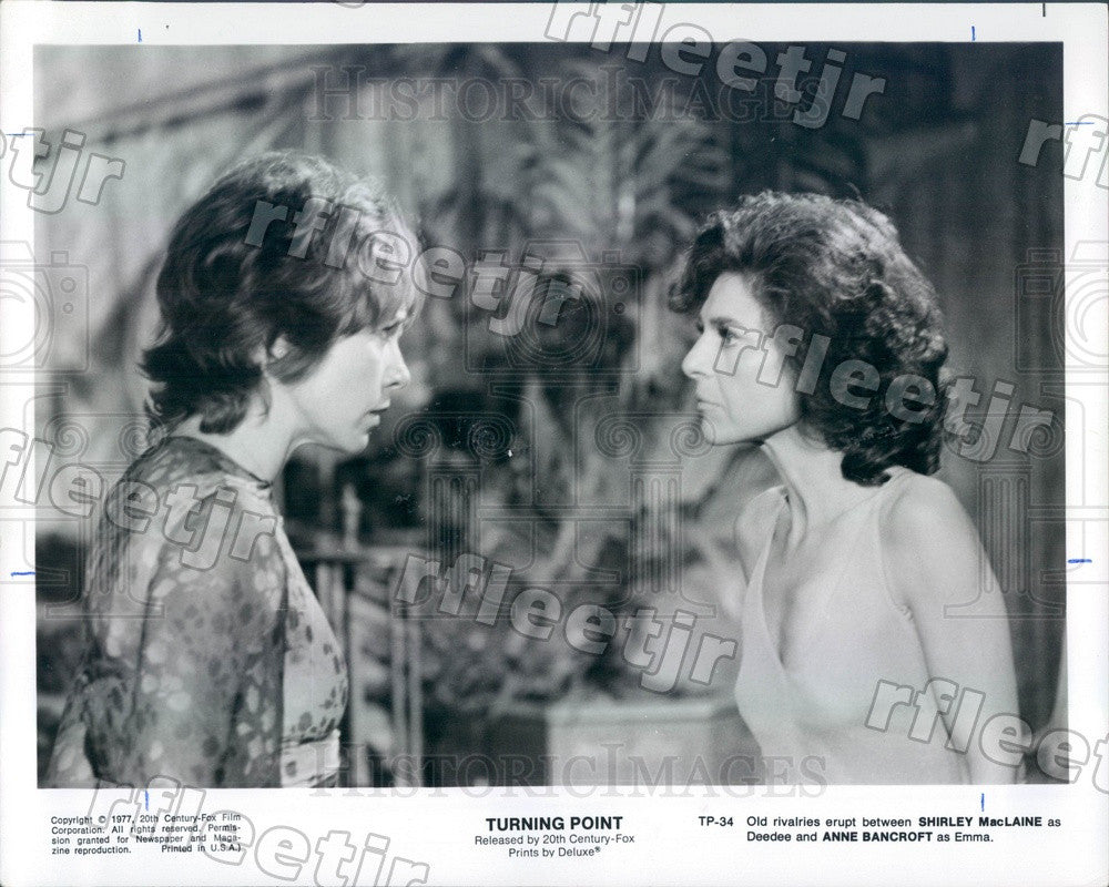 1977 Oscar Winning Actors Shirley Maclaine & Anne Bancroft Press Photo ady435 - Historic Images