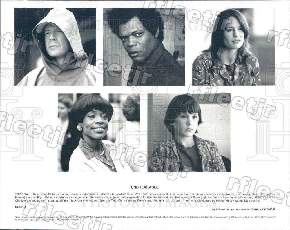 2000 Actors Bruce Willis, Samuel L Jackson, Robin Wright Penn Press Photo ady449 - Historic Images