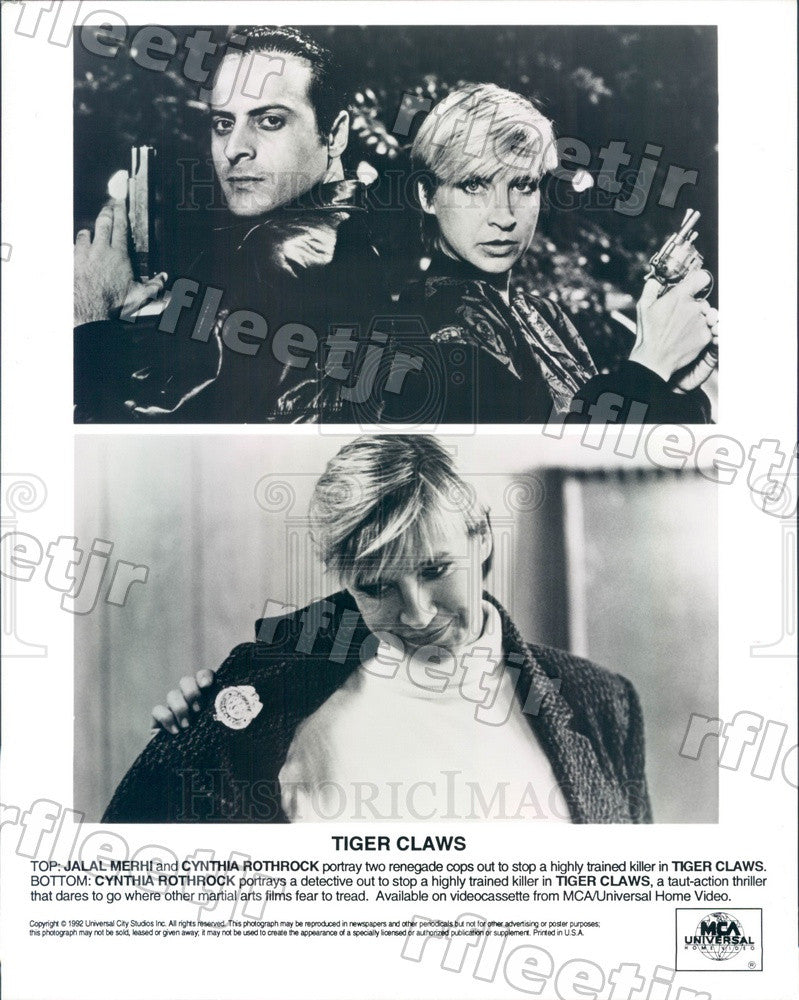 1992 Actors Jalal Merhi & Cynthia Rothrock in Tiger Claws Press Photo ady521 - Historic Images