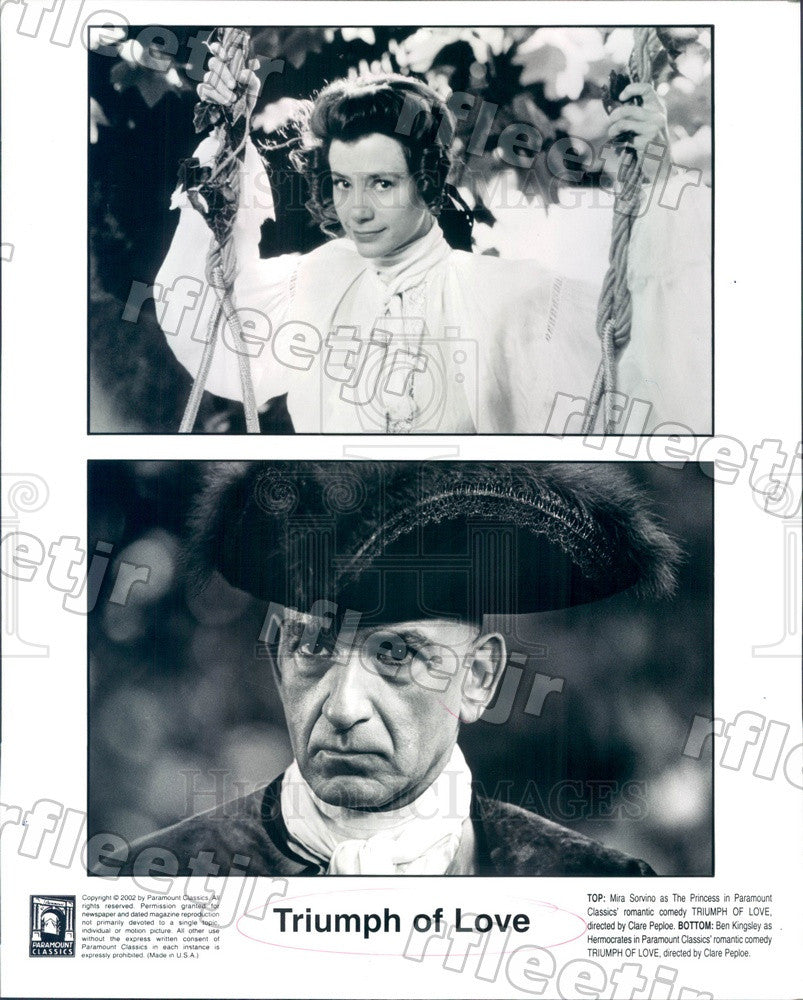 2002 Oscar Winning Actor Ben Kingsley & Mira Sorvino in Film Press Photo ady577 - Historic Images