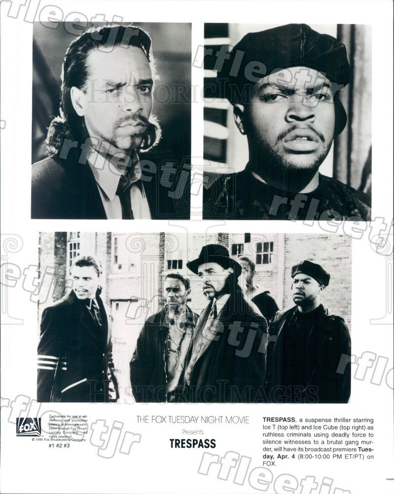 1995 Grammy Winning Actor Ice-T & Ice Cube in Film Trespass Press Photo ady587 - Historic Images