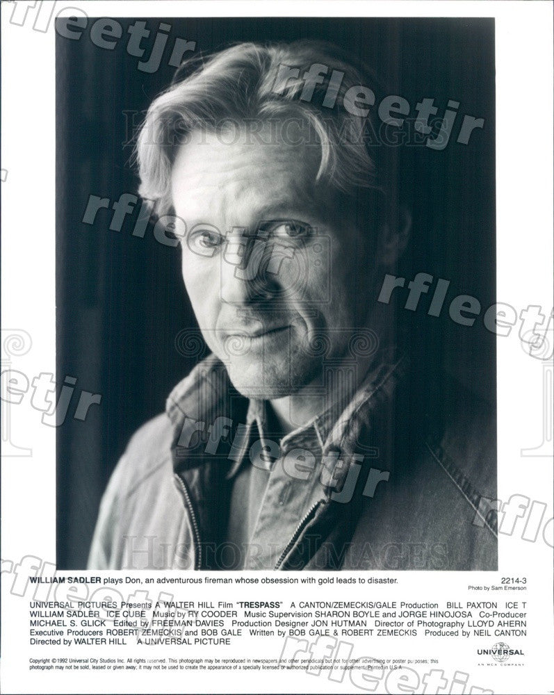 1992 American Actor William Sadler in Film Trespass Press Photo ady591 - Historic Images