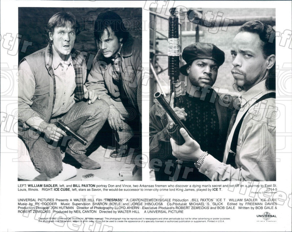 1992 Actors William Sadler, Bill Paxton, Ice Cube, Ice-T Press Photo ady593 - Historic Images