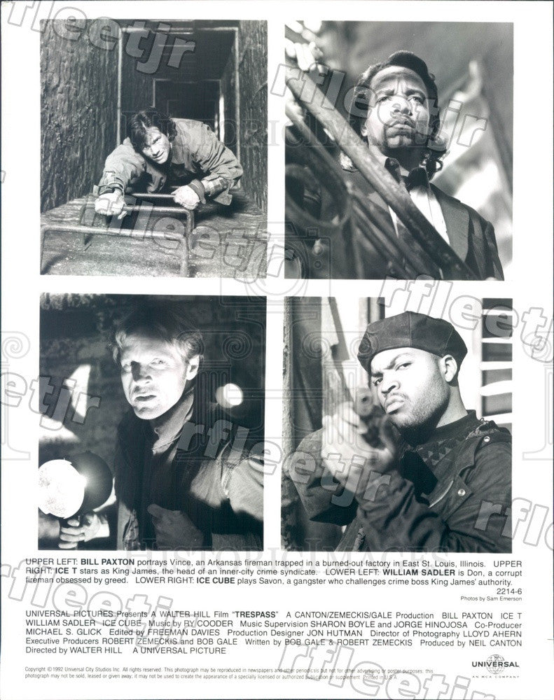 1992 Actors William Sadler, Bill Paxton, Ice Cube, Ice-T Press Photo ady597 - Historic Images