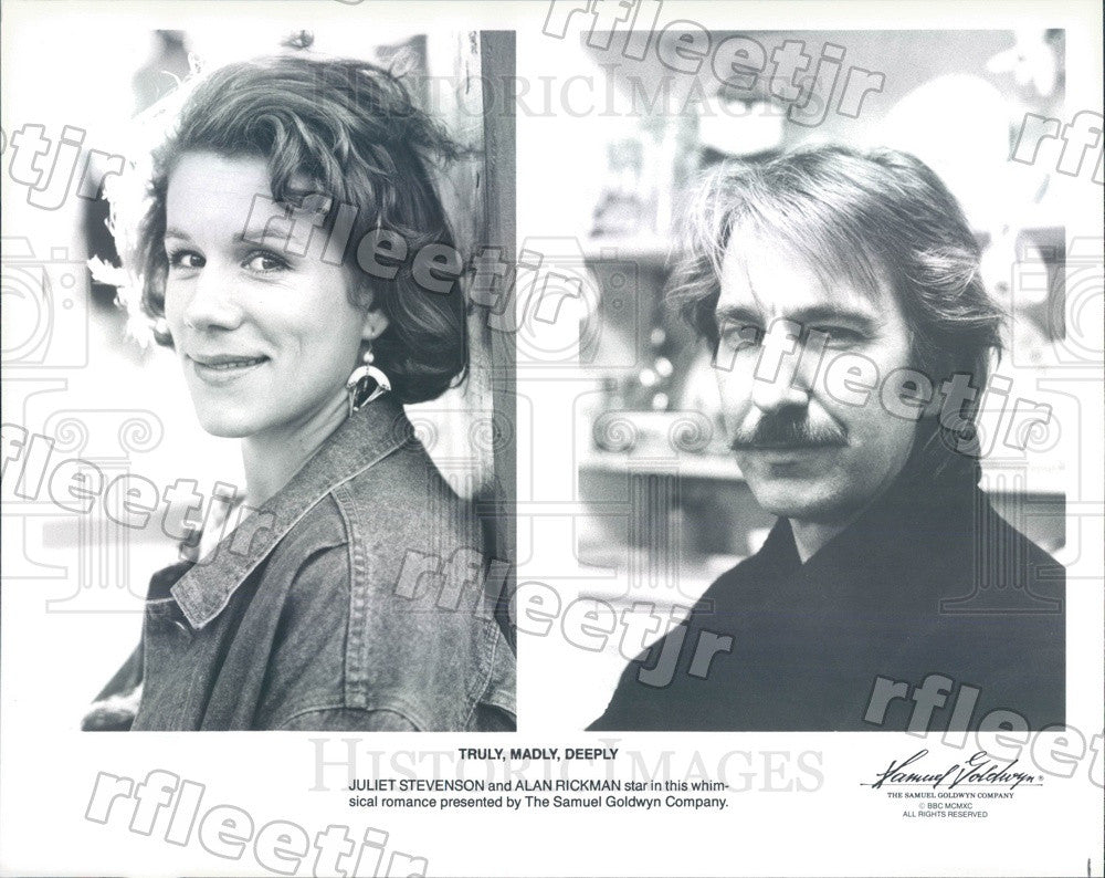 1990 Actors Juliet Stevenson & Emmy Winner Alan Rickman Press Photo ady657 - Historic Images
