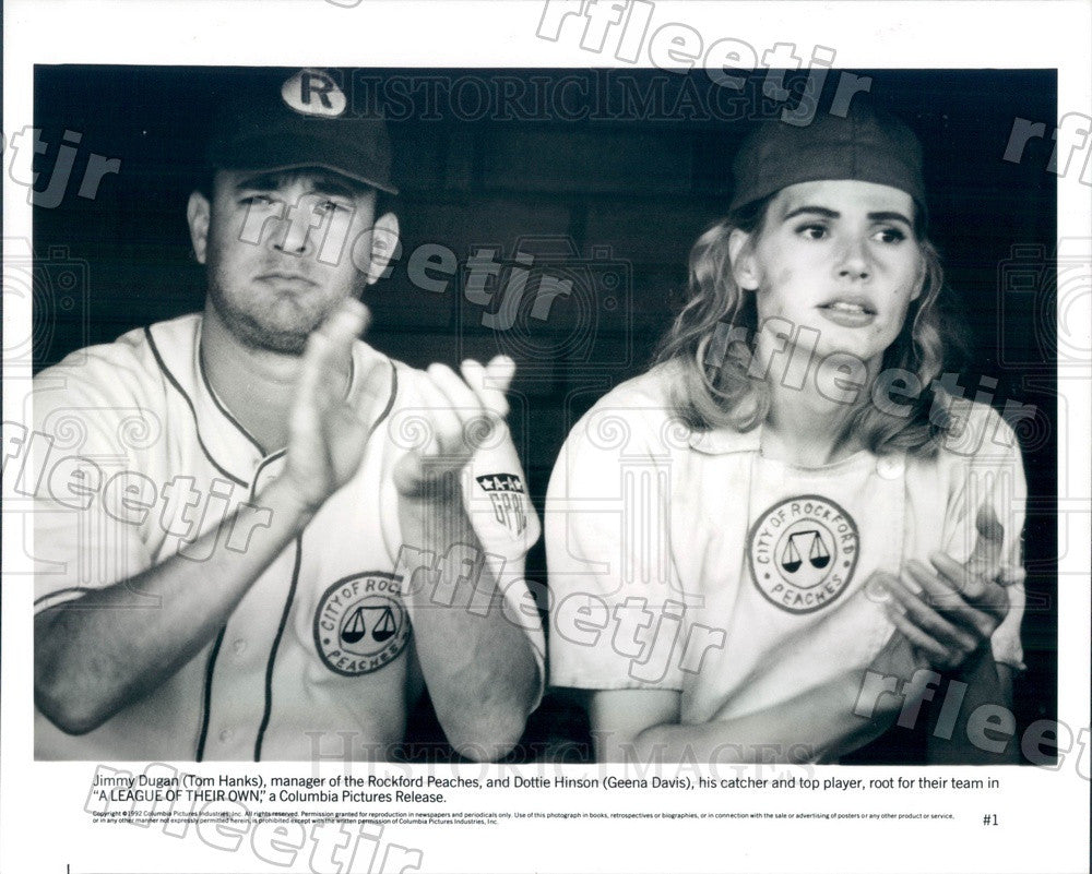1992 Oscar Winning Actors Tom Hanks & Geena Davis Press Photo ady7 - Historic Images