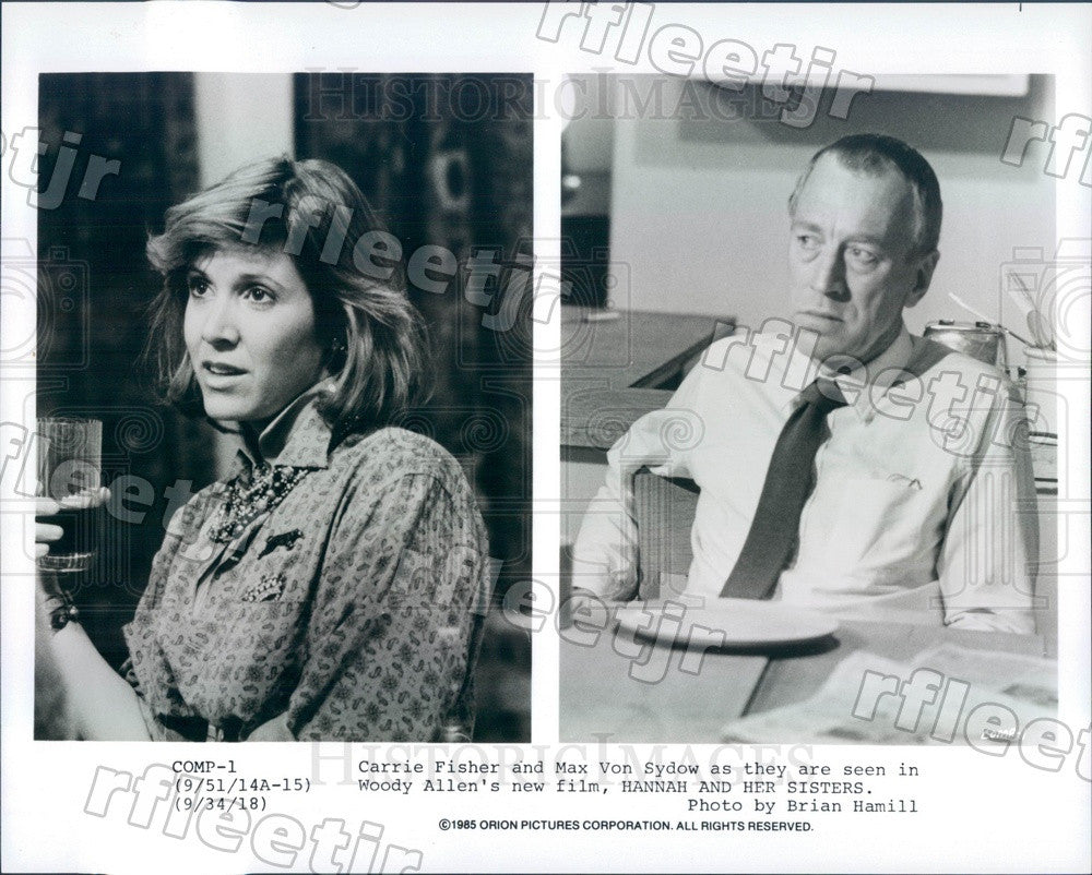 1985 Actors Carrie Fisher & Max Von Sydow in Film Press Photo ady715 - Historic Images
