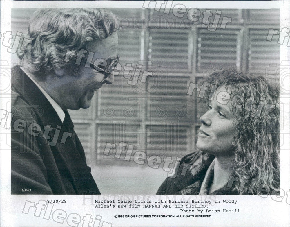 1985 Award Winning Actors Michael Caine & Barbara Hershey Press Photo ady717 - Historic Images