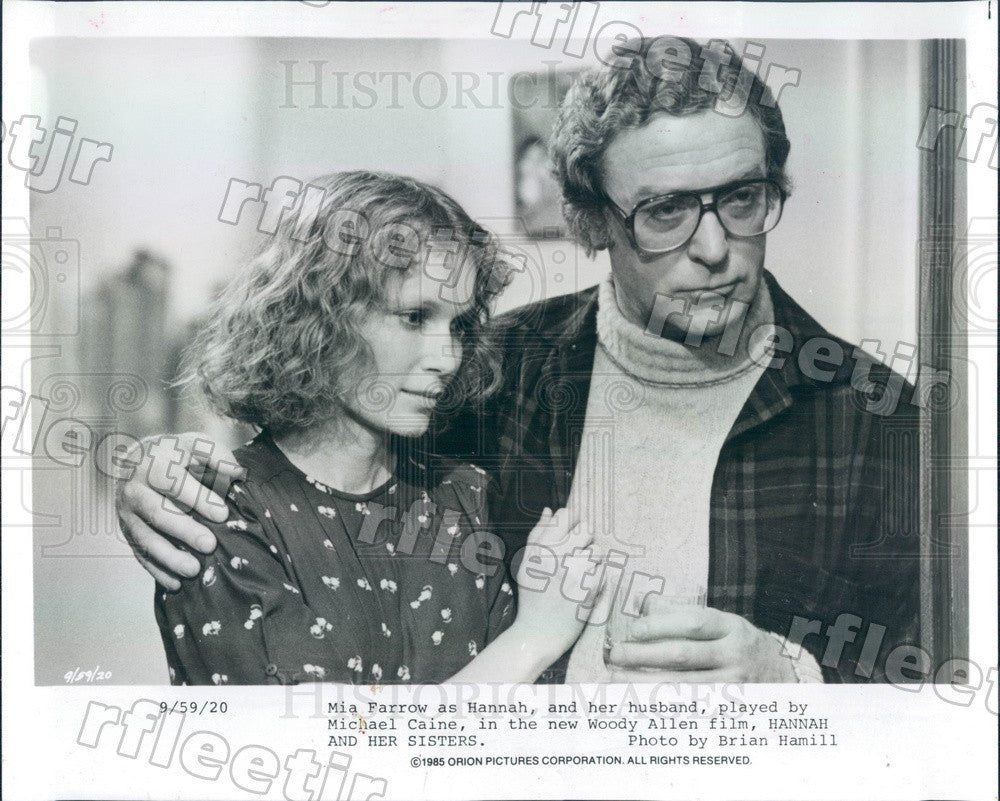 1985 Oscar Winning Actor Michael Caine & Mia Farrow in Film Press Photo ady719 - Historic Images