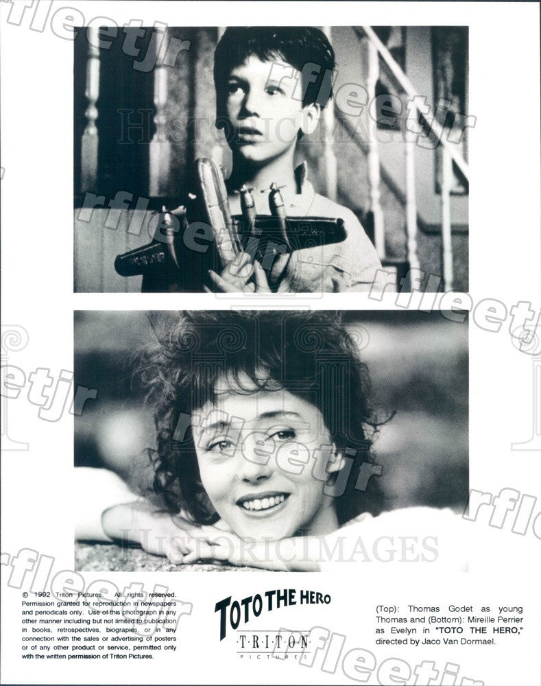 1992 Actors Thomas Godet & Mireille Perrier in Toto The Hero Press Photo ady827 - Historic Images